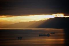 Solnedgång i Rijeka, Kroatien Arkivbild
