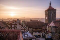 Solnedgång i Rothenburg obder Tauben, Bayern, Tyskland Royaltyfri Fotografi