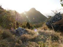 Solnedgång i Saba Arkivfoto