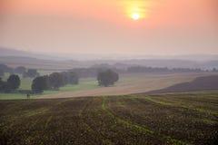 Solnedgång i Sachsen Arkivbilder