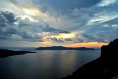 Solnedgång i Santorini Royaltyfri Fotografi