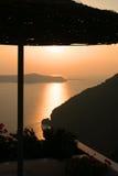 Solnedgång i Santorini, Grekland Royaltyfri Foto