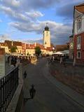 Solnedgång i Sibiu, Rumänien Arkivbilder