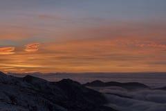Solnedgång i Sierra Nevada, Granada, Spanien Arkivbild