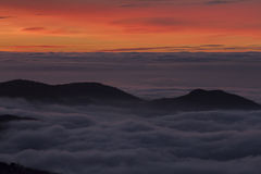Solnedgång i Sierra Nevada, Granada, Spanien Royaltyfri Bild