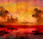Solnedgång i sjön med pagoden Royaltyfria Foton