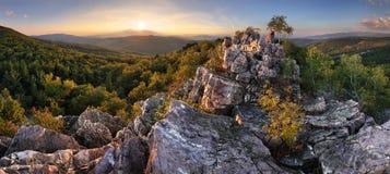 Solnedgång i skog med kullen för stenigt berg royaltyfri foto