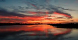 Solnedgång i sommar Fotografering för Bildbyråer