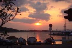 Solnedgång i Sozopol, Bulgarien Arkivbilder