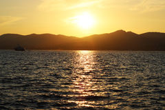 Solnedgång i St Tropez Royaltyfria Bilder