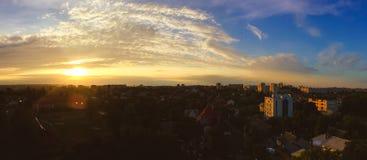 Solnedgång i stad Royaltyfria Foton