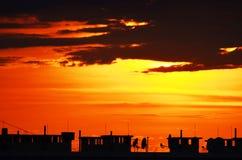 Solnedgång i staden Royaltyfri Fotografi