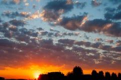 Solnedgång i staden Fotografering för Bildbyråer
