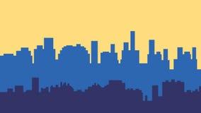 Solnedgång i staden Cityscapekontursoluppgång Arkivbild