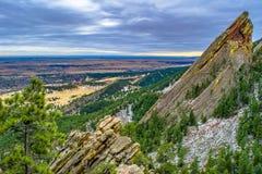 Solnedgång i stenblocket, Colorado royaltyfria bilder