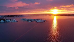 Solnedgång i svensk vinter arkivfilmer