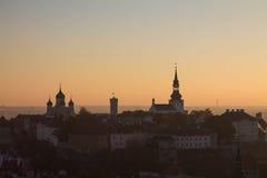 Solnedgång i Tallinn Arkivbild