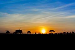Solnedgång i Tanzania Royaltyfria Foton