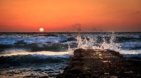Solnedgång i TEL AVIV Arkivfoton