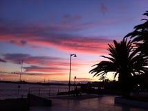Solnedgång i Tenerife Spanien Arkivbilder