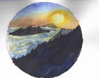 Solnedgång i thieberg royaltyfri illustrationer