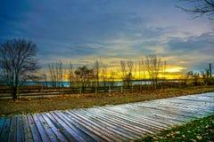 Solnedgång i toronto på stranden Royaltyfria Foton