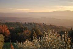 Solnedgång i Toscana Arkivbild