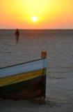 Solnedgång i Tunisien fotografering för bildbyråer
