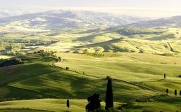 Solnedgång i Tuscany, Italien Arkivbilder