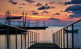 Solnedgång i Umag, Kroatien Arkivbild