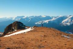 Solnedgång i Valcan berg Arkivfoto
