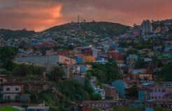 Solnedgång i Valparaiso, Chile Arkivbild