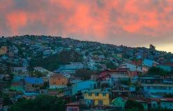 Solnedgång i Valparaiso, Chile Royaltyfri Bild
