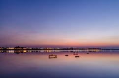 Solnedgång i Vientiane Arkivfoton
