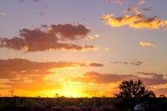 Solnedgång i vildmark Australien Arkivfoton