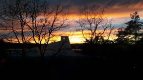Solnedgång i vinter 2 royaltyfria bilder