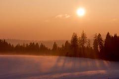 Solnedgång i vinterliggande Arkivbilder