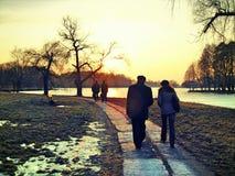 Solnedgång i vintern Arkivfoto