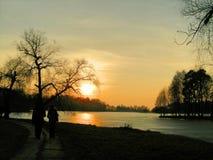 Solnedgång i vintern Royaltyfri Foto