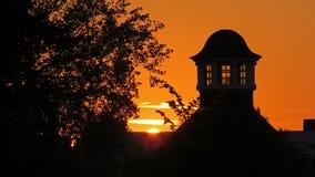Solnedgång i Volkspark i Enschede Fotografering för Bildbyråer