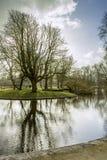 Solnedgång i Vondelpark, Amsterdam Är ett offentligt stads- parkerar av 47 honom Royaltyfria Foton