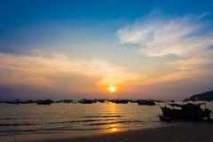 Solnedgång i Vung Tau, i Vietnam Royaltyfri Fotografi