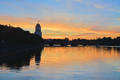Solnedgång i Vyborg, Ryssland Arkivbilder