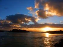 Solnedgång i Warrnambool Australien Arkivbilder