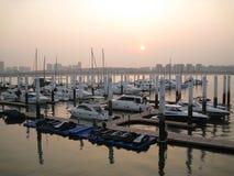 Solnedgång i Xiamen Arkivfoton