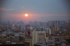 solnedgång i xian Arkivfoton