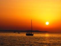 Solnedgång i Zadar - Kroatien Arkivbild