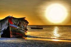 Solnedgång i Zanzibar Arkivfoton