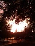 Solnedgång inget filter royaltyfria bilder
