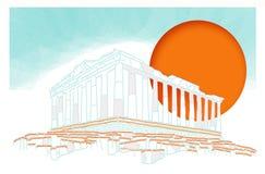 Solnedgång inom Parthenon Arkivfoto